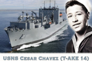 110512-N-DX698-001 WASHINGTON (May 12, 2011) A photo illustration of the Military Sealift Command dry cargo and ammunition ship USNS Cesar Chavez (T-AKE 14). Chavez served in the Navy from 1944-1946 and became a leader in the American labor movement and a civil rights activist. Cesar Chavez will serve as a combat logistics force ship delivering ammunition, food, fuel and other dry cargo to U.S. and allied ships at sea. (U.S. Navy photo illustration by Mass Communication Specialist Jay M. Chu/Released)