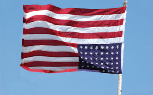 American flag flying upside-down treason