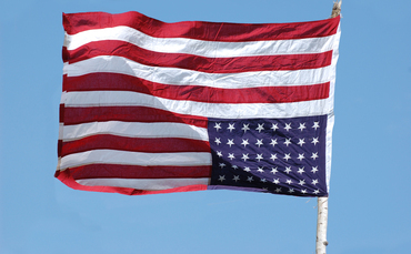 American flag flying upside-down