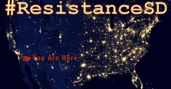 #ResistanceSD logo; NASA photo from space of US at night