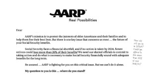 Intro to AARP letter to members on Social Security