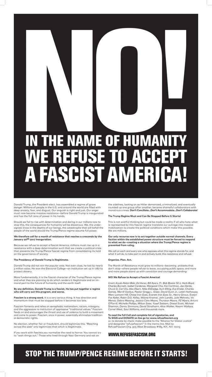 New York Times full page letter by ResistFascism; NO! IN THE NAME OF HUMANITY WE REFUSE TO ACCEPT A FASCIST AMERICA!