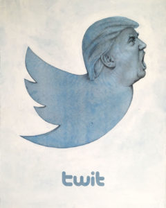 Twitter icon with head of Trump
