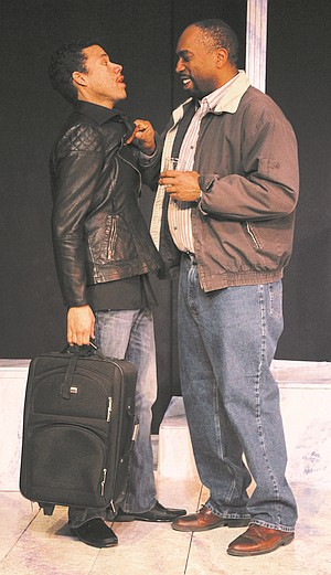 """Publicity shot of two cast members of """"Firepower"""" on set in character"""