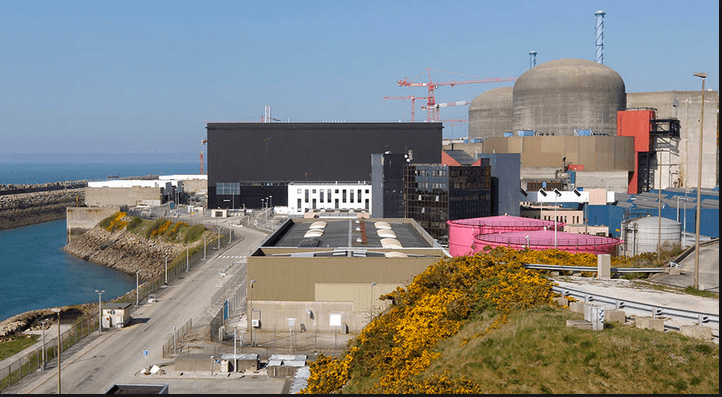 Aerial view of Flamanville nuclear power plant, Normandy, France