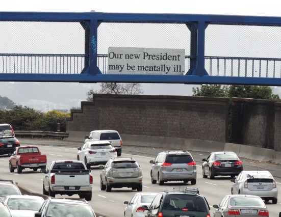Sign on freeway overpass: Our new President may be mentally ill.