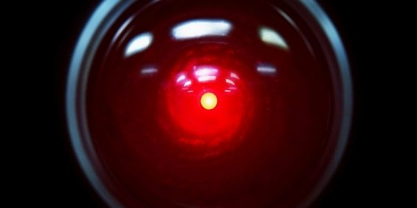 """Red eye"" of the HAL 9000 computer from Stanley Kubrick's classic film ""2001: A Space Odyssey,"""