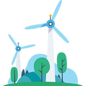 Stylied graphic of wind turbines and trees