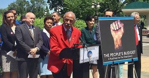 Rep. John Conyers, a member of the Congressional Progressive Caucus from Michigan, speaks at Tuesday's introduction of the People's Budget.