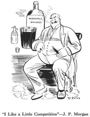 Cartoon illustration of J.P. Morgan seated