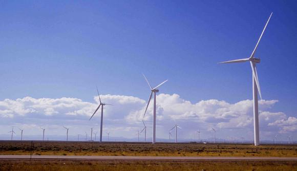 Windmill farm on Wyoming plain