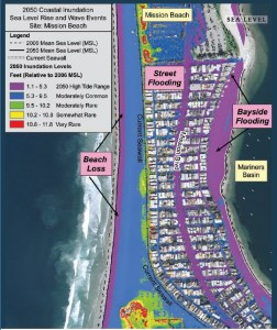 Map showing 2050 coastal inundation impact of sea level rise in Mission Beach