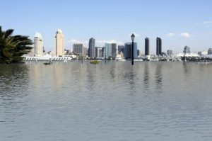 Image of San Diego skyline viewed from Coronado, but with Coronado under water from sea level rise