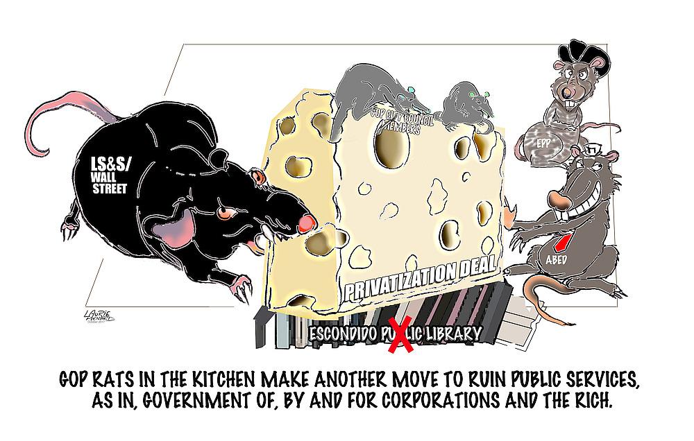Cartoon of rats eating cheese