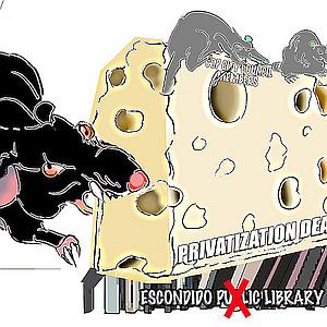 Public Libraries Like Escondido's Being Privatized by Swiss Cheese Rats (Editorial Cartoon)