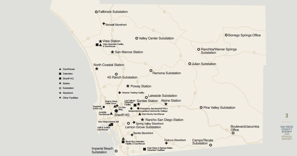 San Diego County Sheriff map of San Diego County facilities