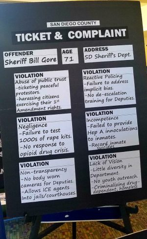 """Poster presenting """"Ticket and Complaint"""" violations for Sheriff Bill Gore (Dave Myers campaign poster)"""