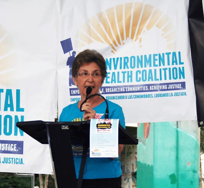 Diane Takvorian speaking at podium