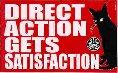 Graphic with black cat, IWW logo and text: Direct Action Gets Satisfaction