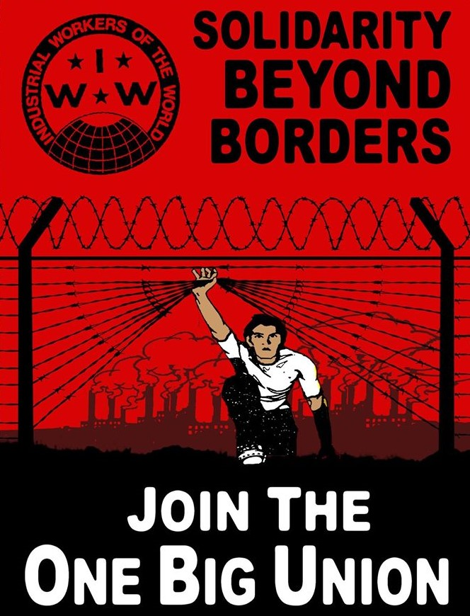 IWW graphic of person lifting barbed wire to pass through fence