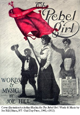 Drawing of youngster and two women, one woman carrying red flag with