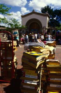 Stack of phone books for recycling in Balboa Park Organ Pavilion