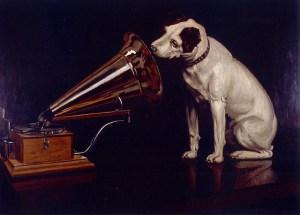 Dog listening to gramaphone