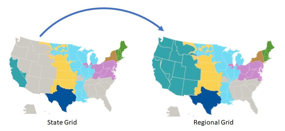 U.S. maps showing regionalization proposals