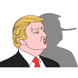 Caricature of Trump profile with shadow showing a Pinocchio nose