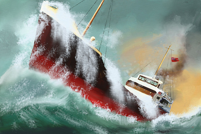 Painting of a storm-tossed ship at sea