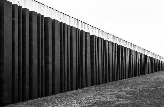 View along portion of U.S.-Mexico border wall