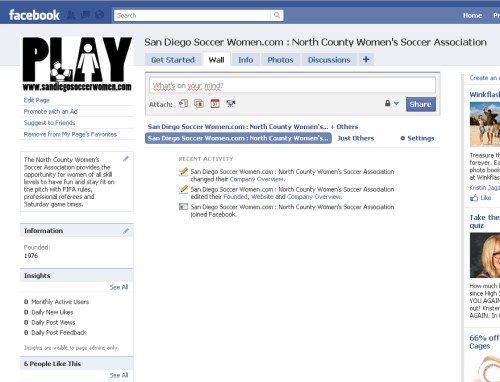 Facebook Page Screen Shot