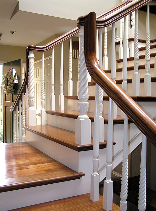 Portfolio Norman Hasenfang Railings And Stairs | Two Tone Stair Railing | White | Indoor | Antique | Mansion | Country Style