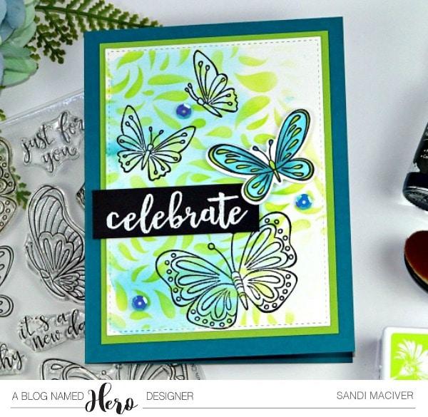 Hero Arts Celebrate Layered Ink Background card