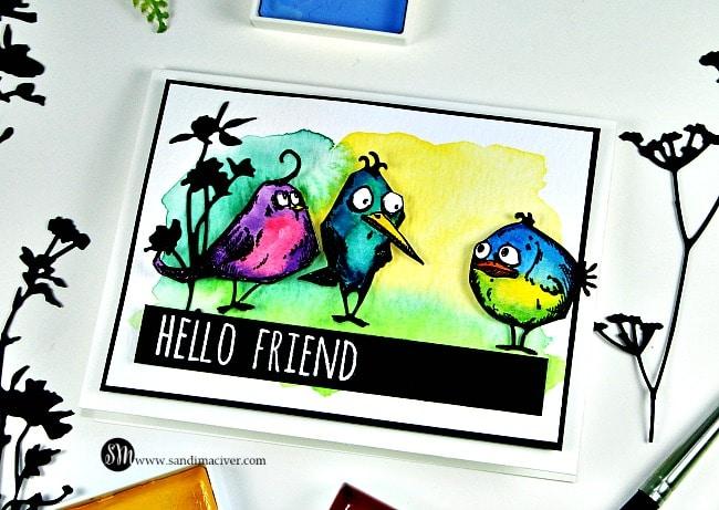 Tim Holtz Crazy Birds Water colored
