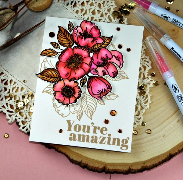 Simon Says Stamp Thankful Flowers in Pink and Brown