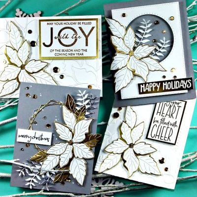 Ruffled Poinsettia Christmas Cards