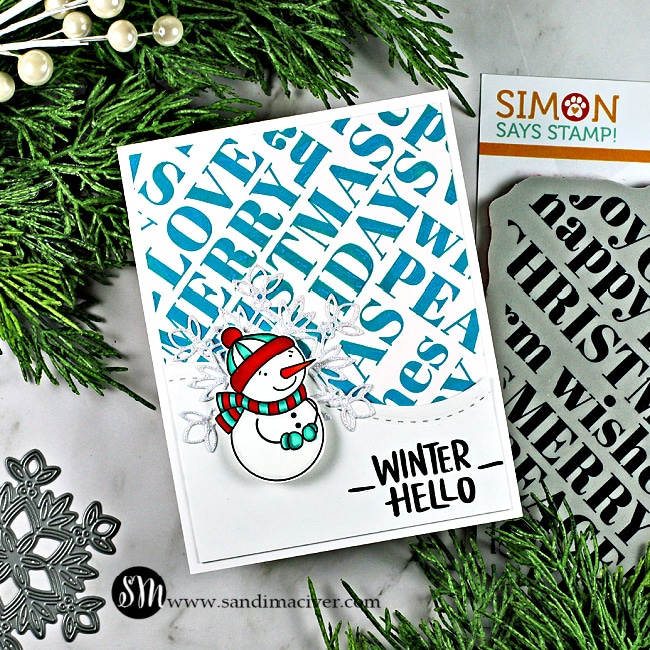 Simon Says Stamp Holiday Words Snowman Christmas Card