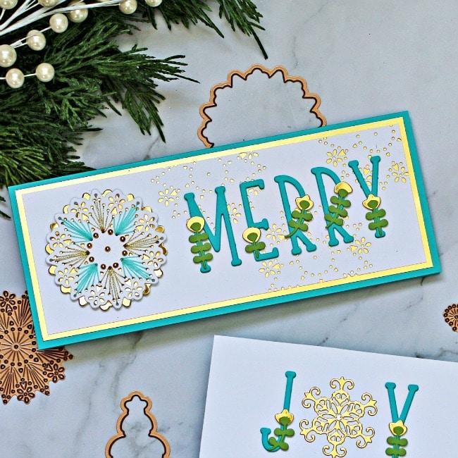 Spellbinders Large Die of the Month Stitched Cards Slimline Snowflake