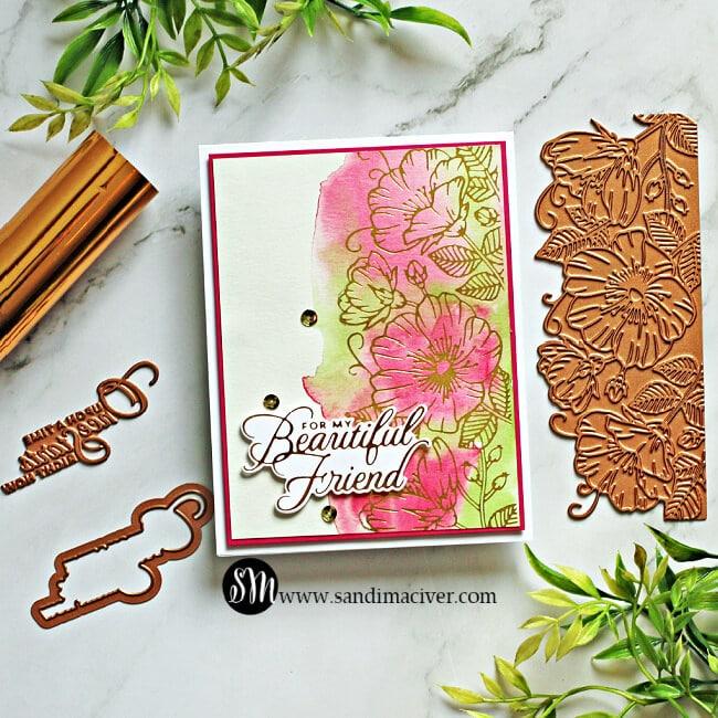 Spellbinders Sweet Blooms Border Pink Card