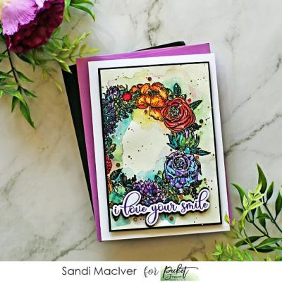 picture of a handmade card created with the Picket Fence Studios Flower Wreath Stamp Set
