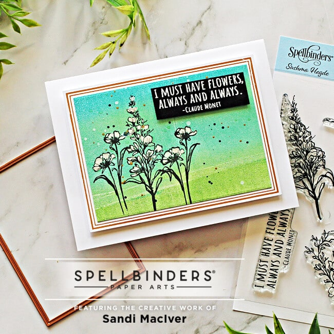 image of a handmade card creted with the Spellbinders Floral Beauties stamp set
