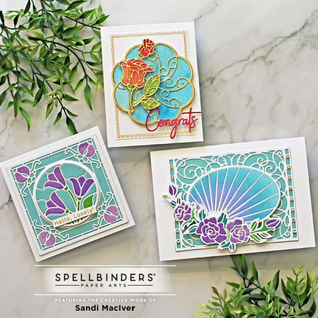 three hand made greeting cards created with Spellbinders Stained Glass Cards dies by Becca Feeken for cardmaking and papercrafting