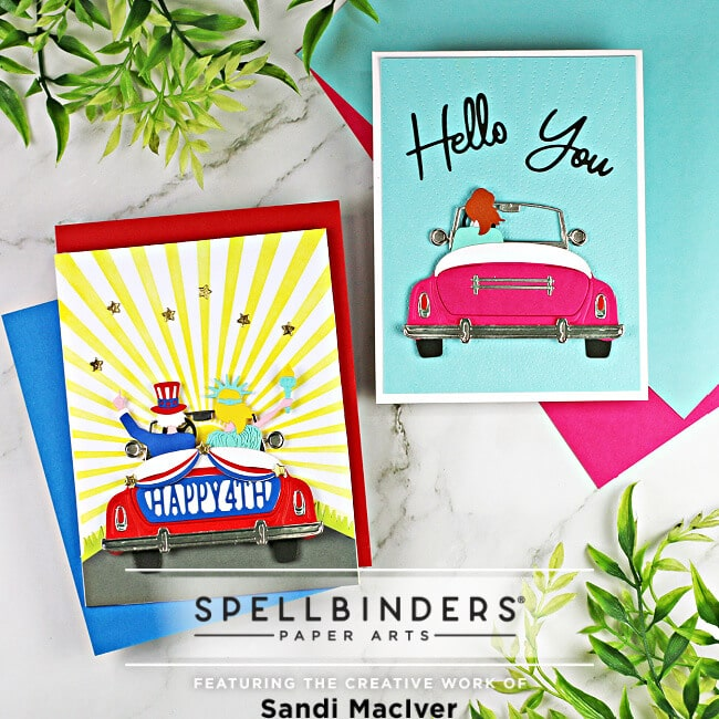 two hand made cards created with the new Spellbinders liberty Sunday Drive Die Set