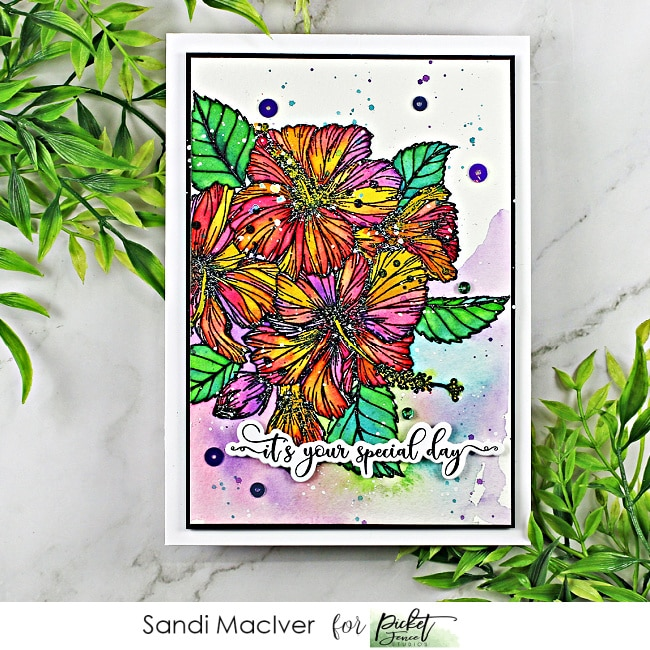 water colored hand made greeting card created with the new Tropical Hibiscus Bouquet stamp from Picket Fence Studios