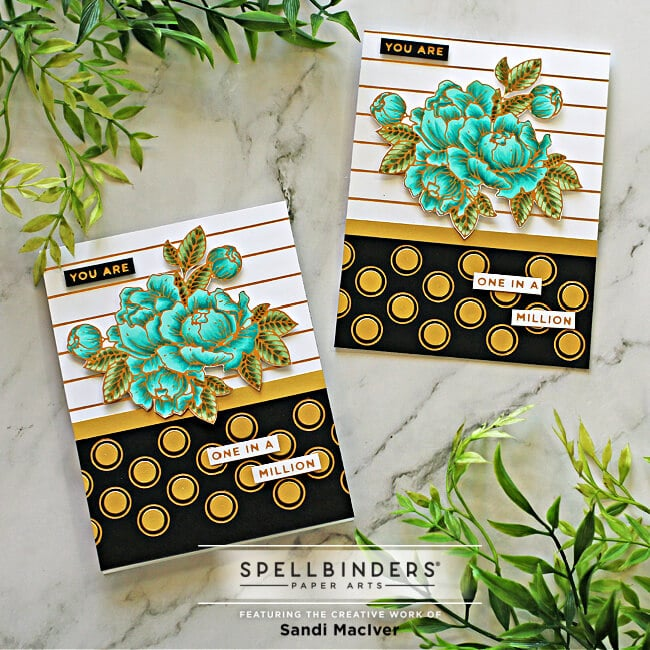 hand made greeting cards created with the May Glimmer Hot Foil Kit of the month from Spellbinders