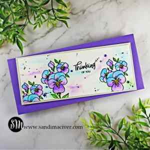 hand made slimline watercolor card stamped with cardmaking supplies from Ellen Hutson Pressing thoughts stamp set