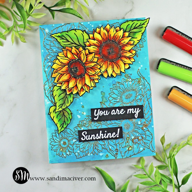 hand made watercolored greeting card created with the Sunshine and Sunflowers stamp and die set from Tonic Studios