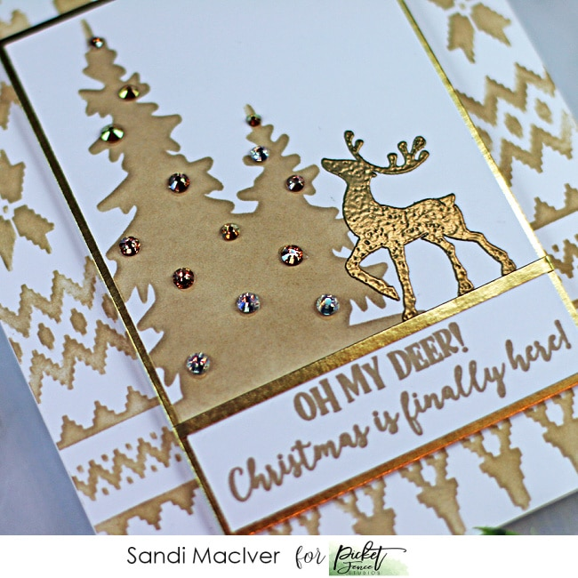 monochromatic christmas cards created with new products from Picket Fence STudios