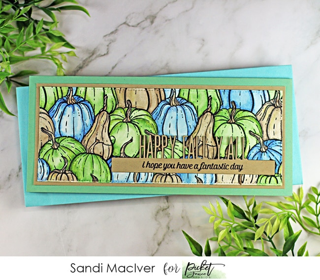 hand made long skinny card covered in green blue and taupe gourds created with the All the Gourds stamp from Picket Fence STudios
